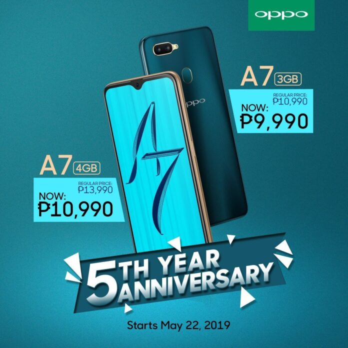 OPPO Celebrates 5th Anniversary with an Enticing Offer for OPPO A7 - Geekstamatic.com